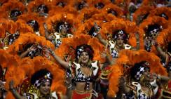 Revellers parade for the Mocidade Alegre samba school during the carnival in Sao Paulo, Brazil, February 7, 2016. REUTERS/Paulo Whitaker